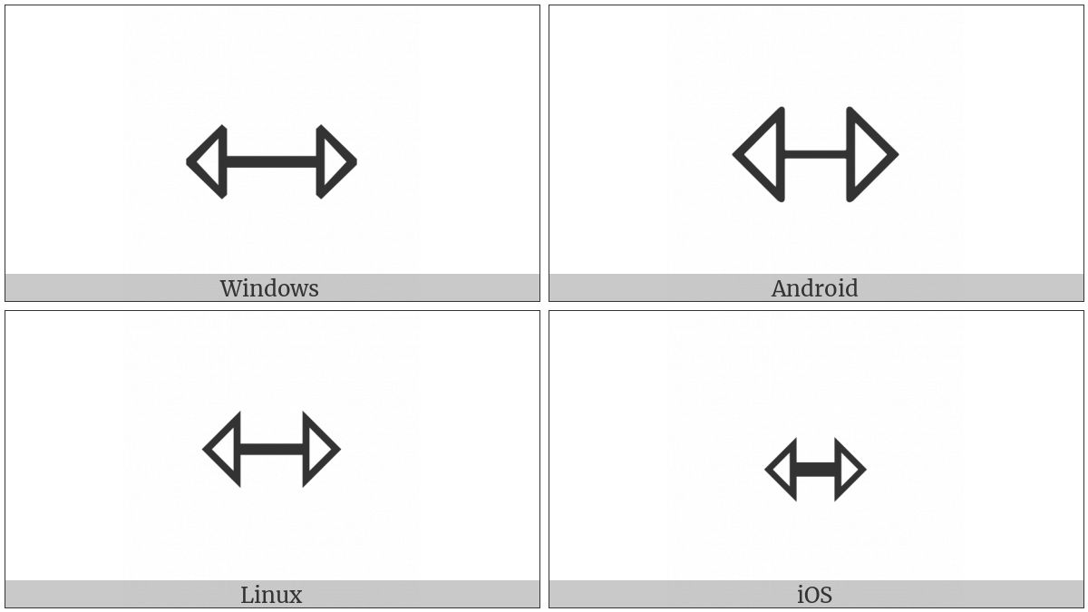 Left Right Open-Headed Arrow on various operating systems