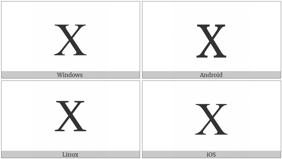 Latin Capital Letter X on various operating systems