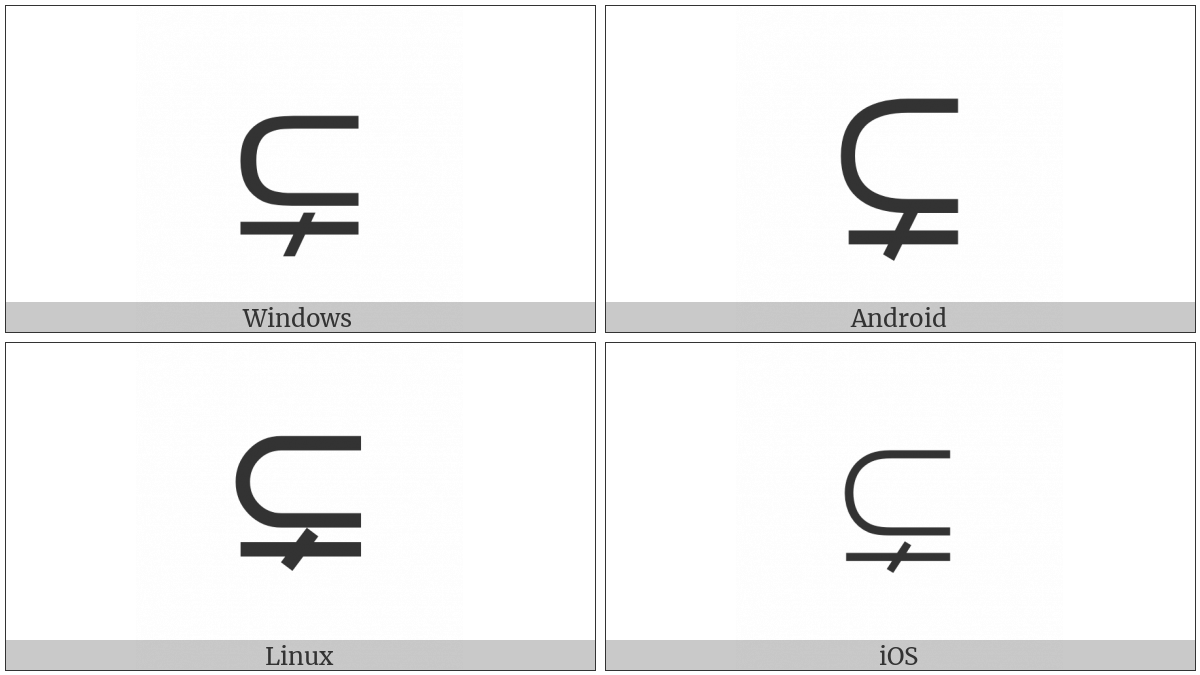 Subset Of With Not Equal To Utf 8 Icons