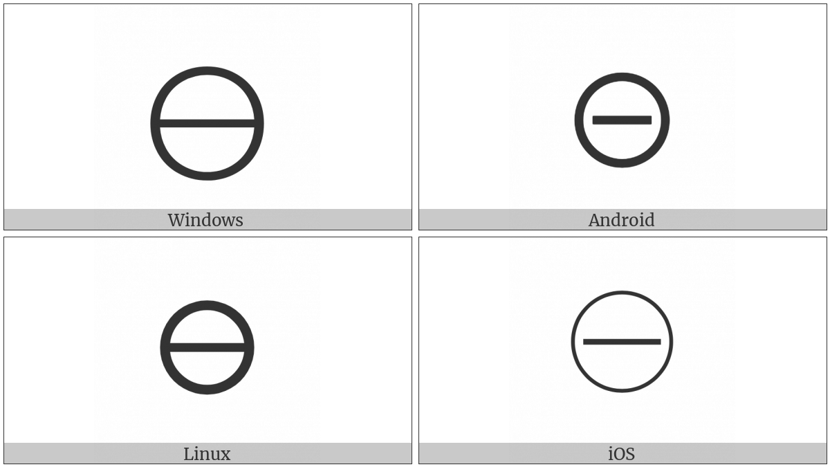 Circled Minus on various operating systems
