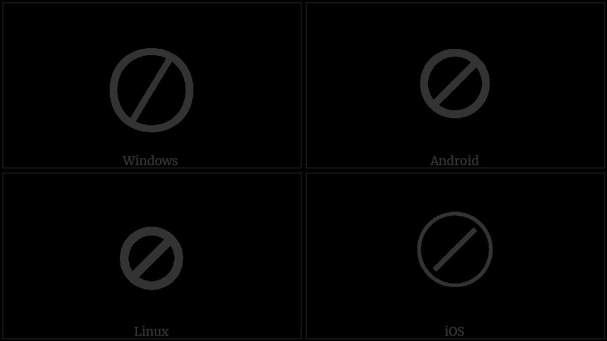Circled Division Slash on various operating systems