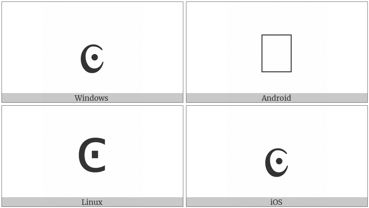 Greek Small Dotted Lunate Sigma Symbol on various operating systems