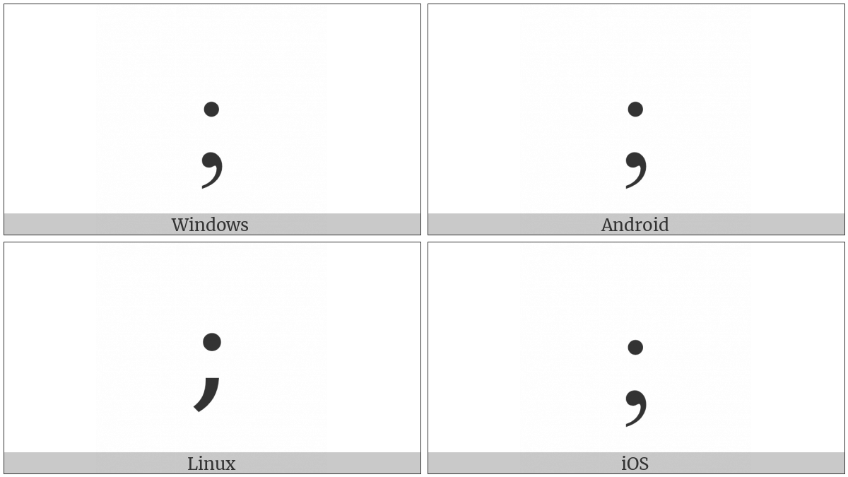 Greek Question Mark on various operating systems