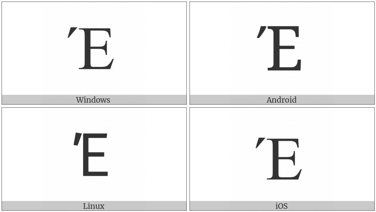 Greek Capital Letter Epsilon With Tonos on various operating systems