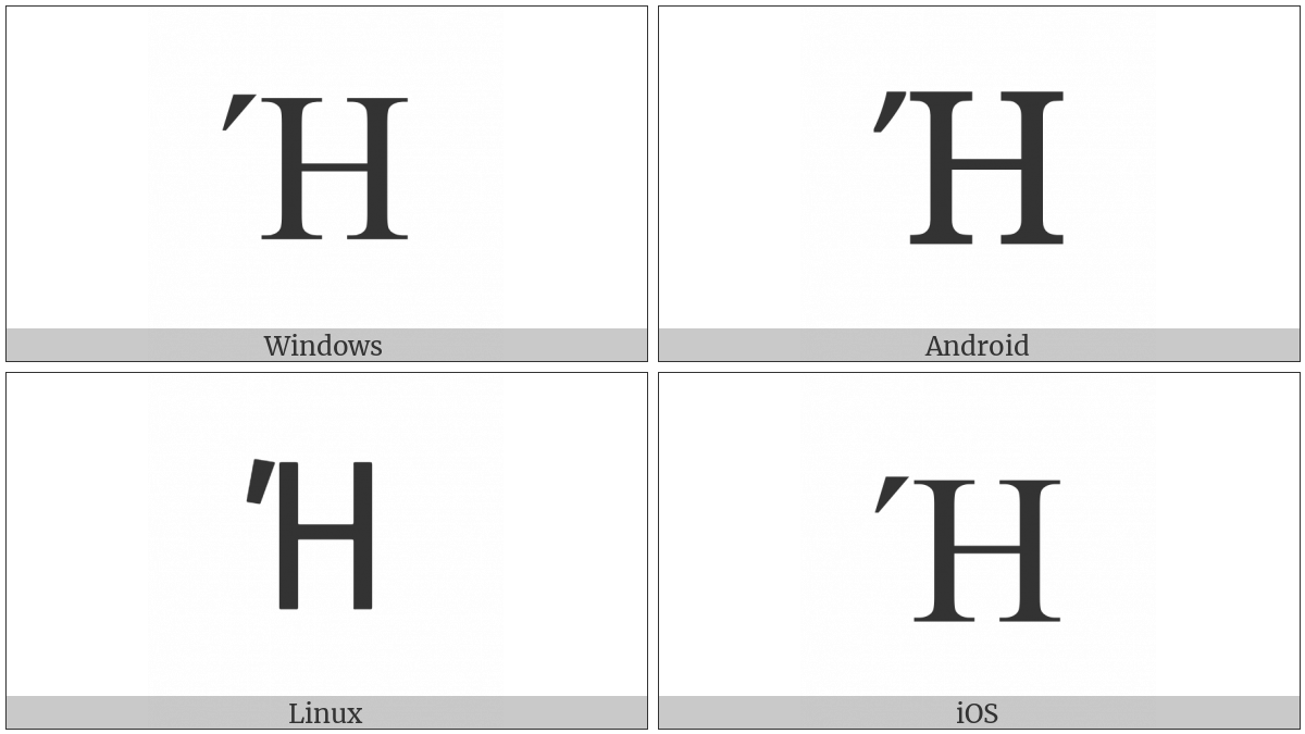 Greek Capital Letter Eta With Tonos on various operating systems