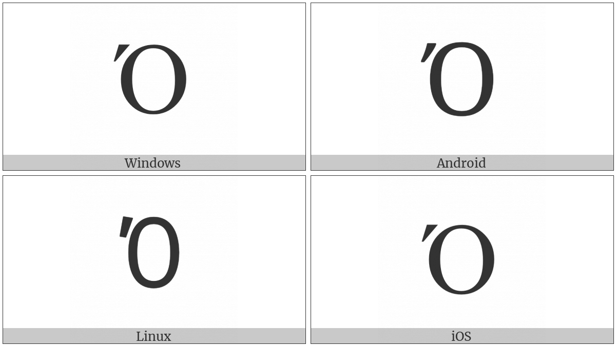 Greek Capital Letter Omicron With Tonos on various operating systems