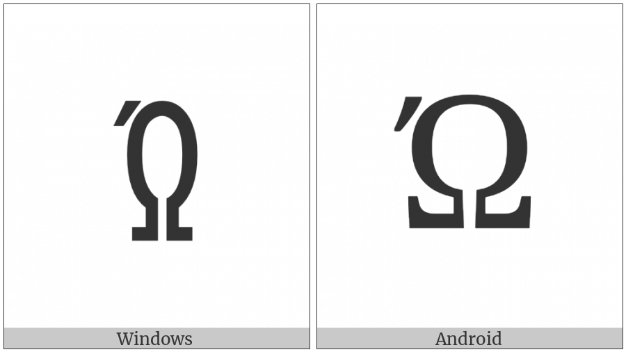 Greek Capital Letter Omega With Tonos on various operating systems