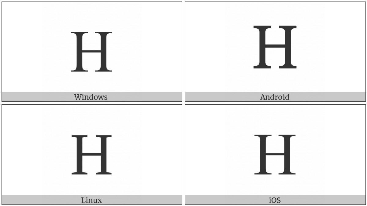 Greek Capital Letter Eta on various operating systems
