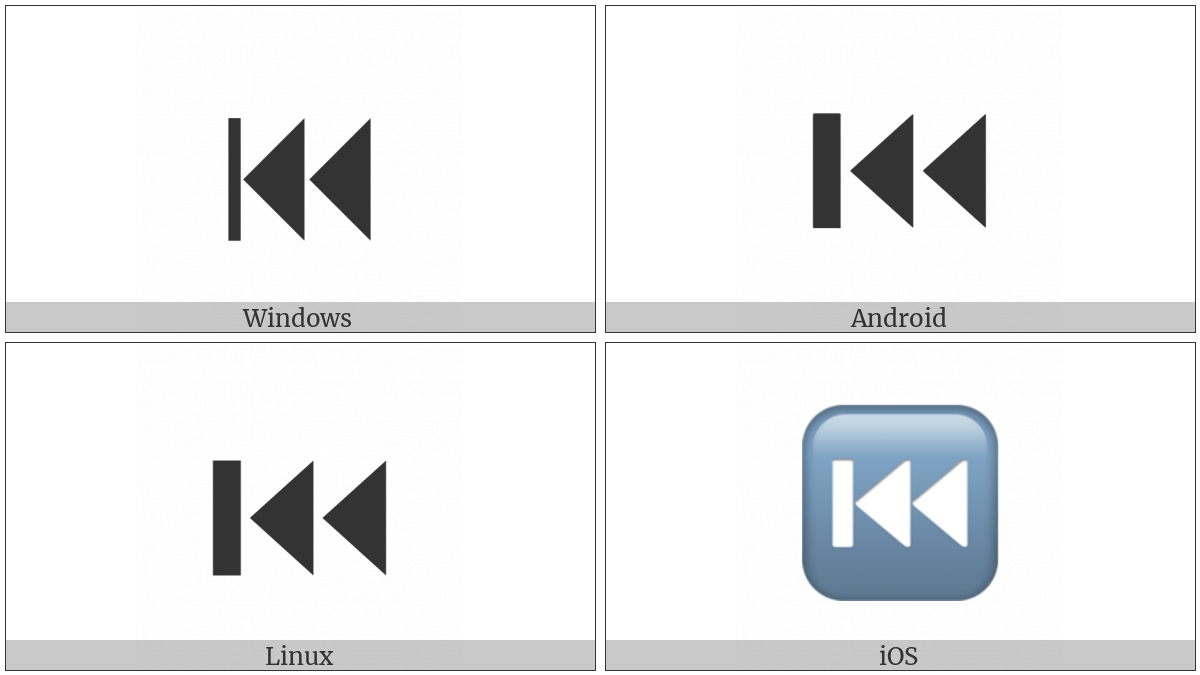 Black Left-Pointing Double Triangle With Vertical Bar on various operating systems