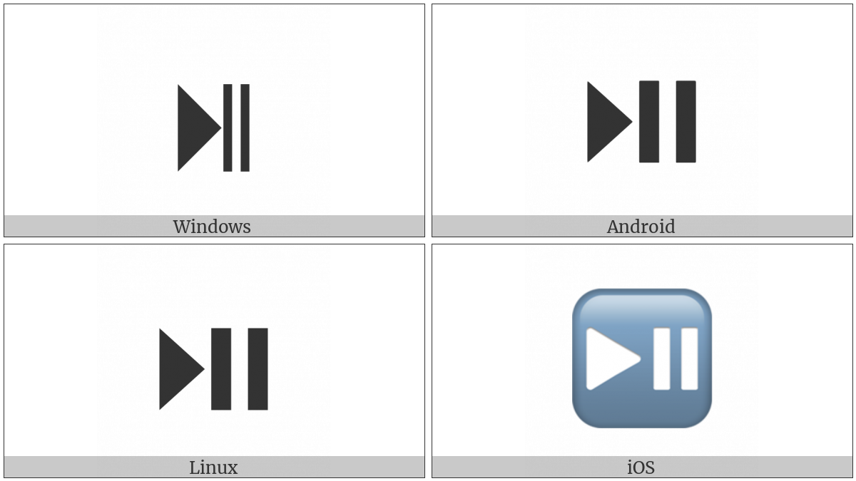 Black Right-Pointing Triangle With Double Vertical Bar on various operating systems