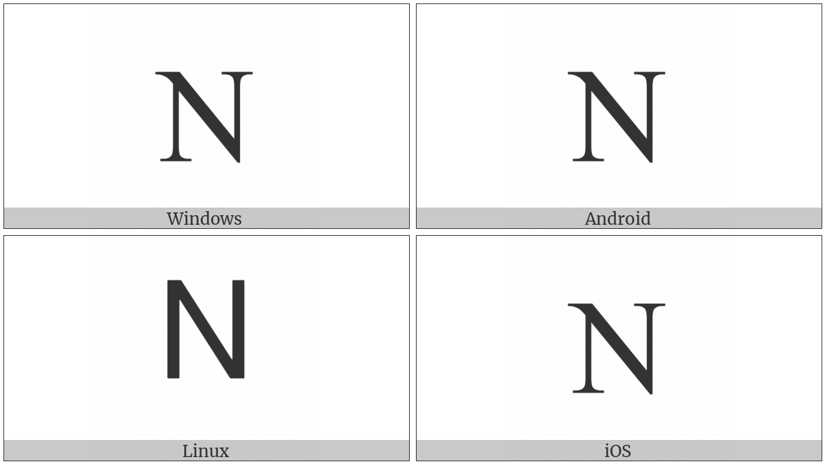 Greek Capital Letter Nu on various operating systems