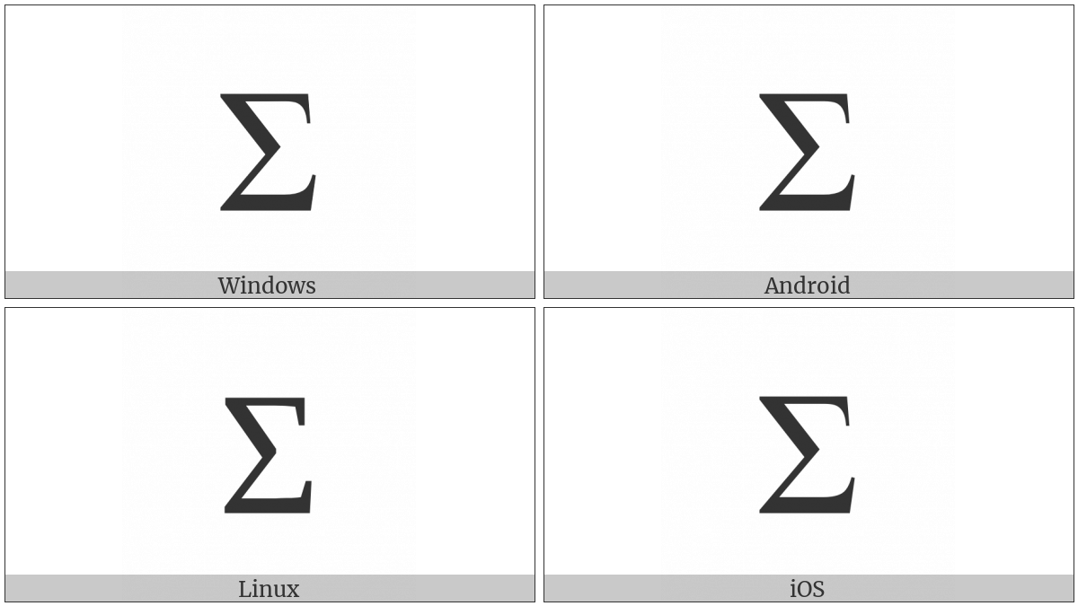 Greek Capital Letter Sigma on various operating systems