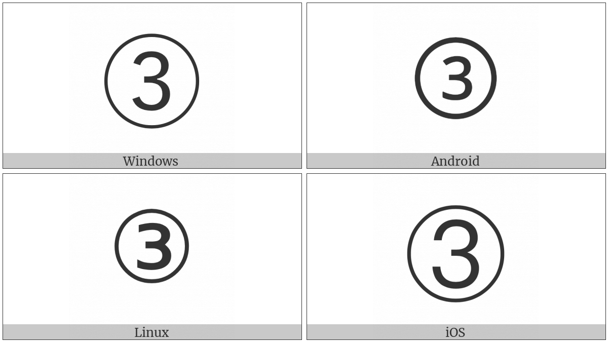 Circled Digit Three on various operating systems