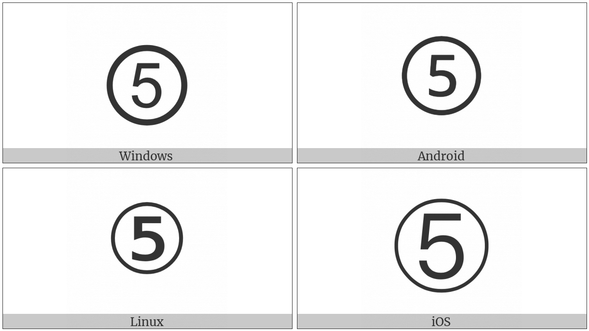 Circled Digit Five on various operating systems