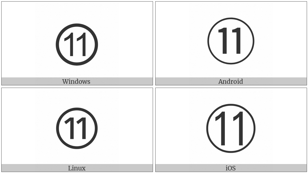 Circled Number Eleven on various operating systems