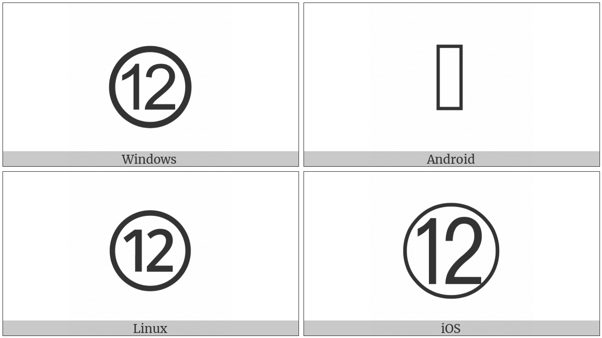 Circled Number Twelve on various operating systems