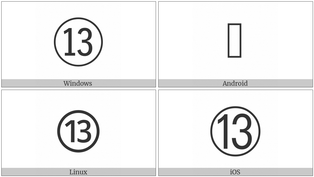 Circled Number Thirteen on various operating systems