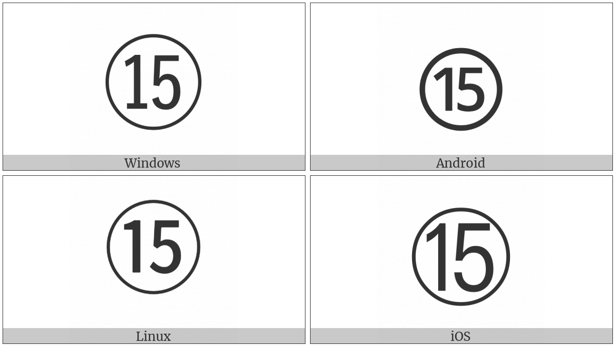 Circled Number Fifteen on various operating systems