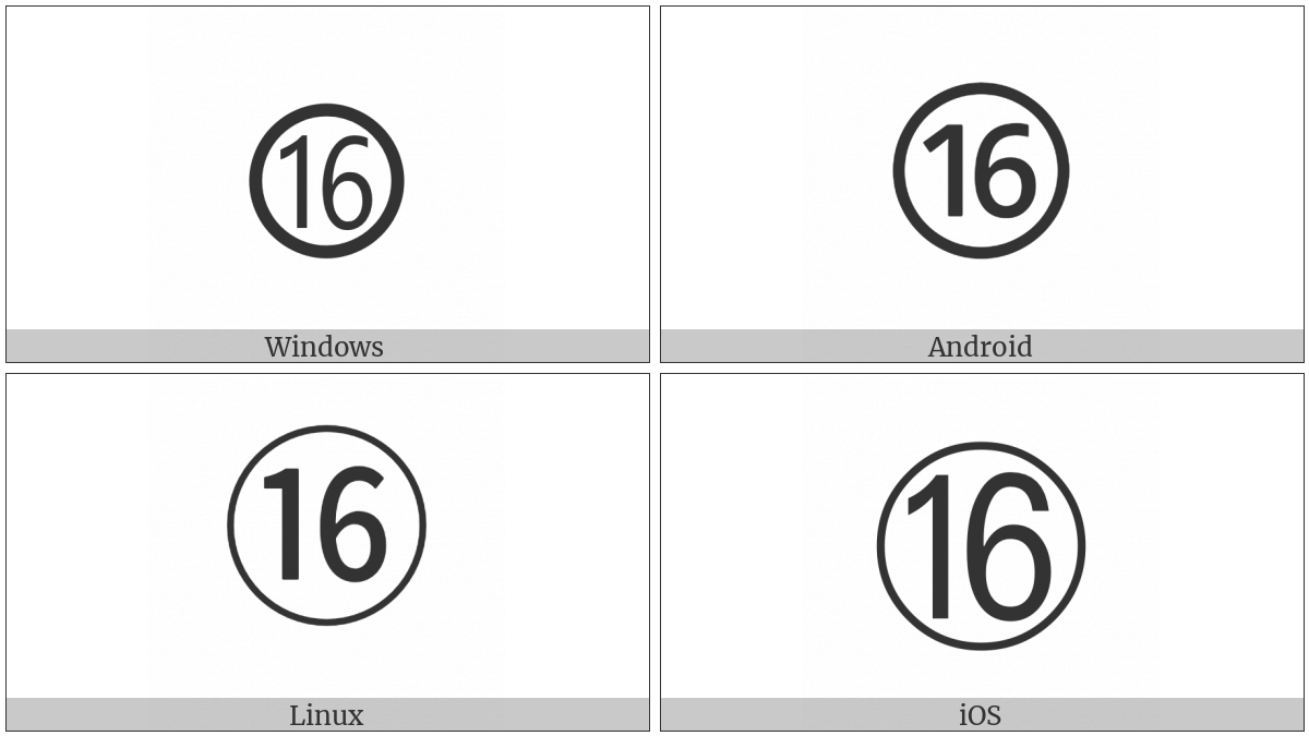 Circled Number Sixteen on various operating systems