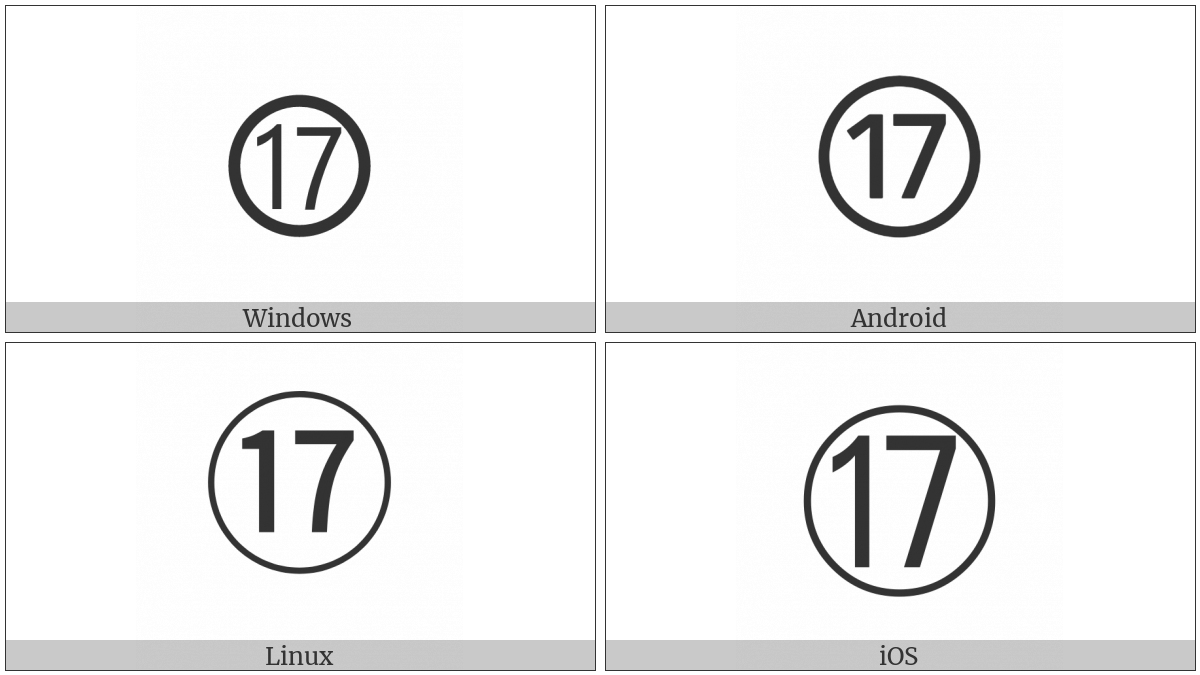 Circled Number Seventeen on various operating systems