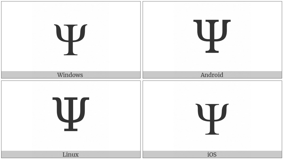 Greek Capital Letter Psi on various operating systems