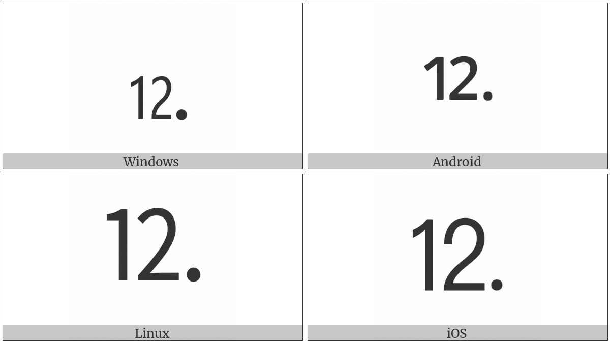 Number Twelve Full Stop on various operating systems