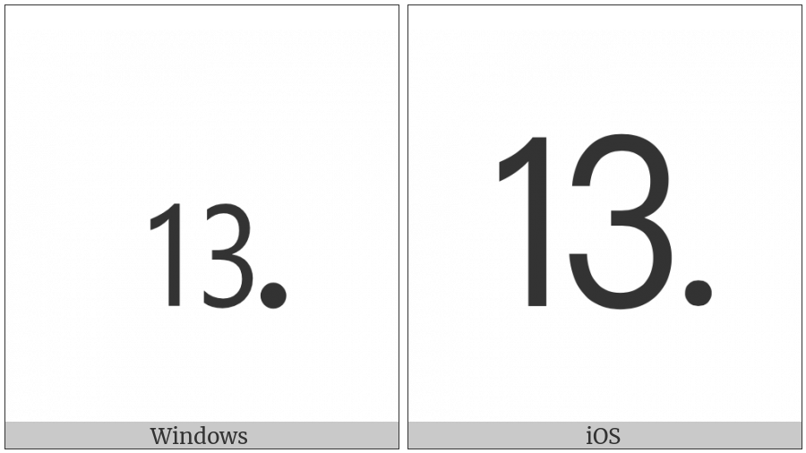 Number Thirteen Full Stop on various operating systems