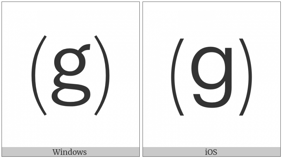 Parenthesized Latin Small Letter G on various operating systems