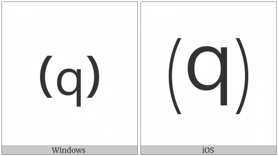 Parenthesized Latin Small Letter Q on various operating systems
