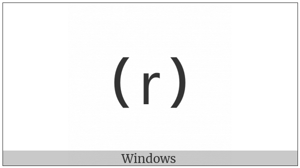 Parenthesized Latin Small Letter R on various operating systems