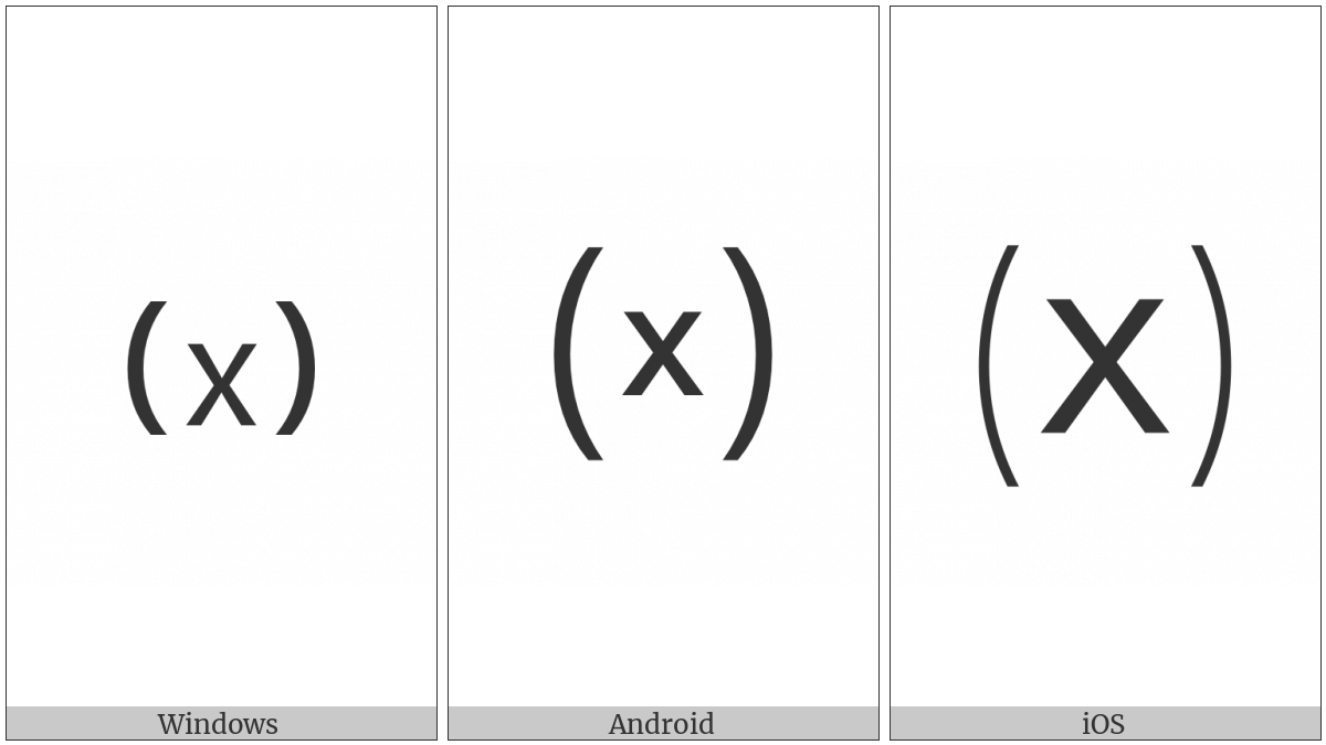 Parenthesized Latin Small Letter X on various operating systems
