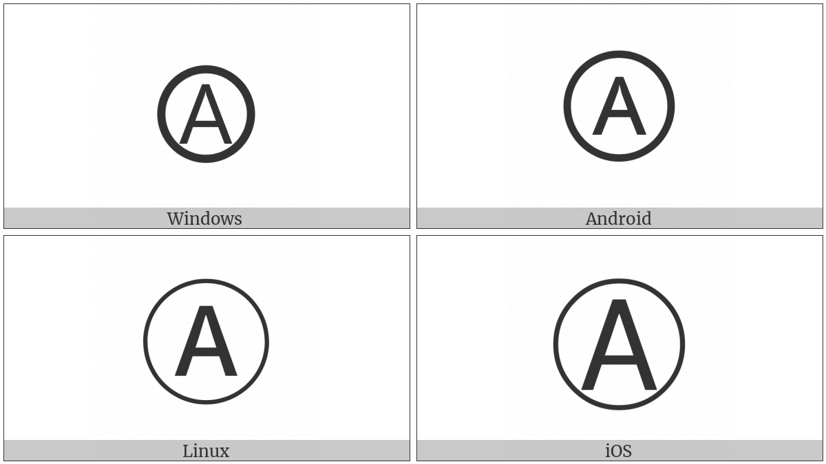 Circled Latin Capital Letter A on various operating systems