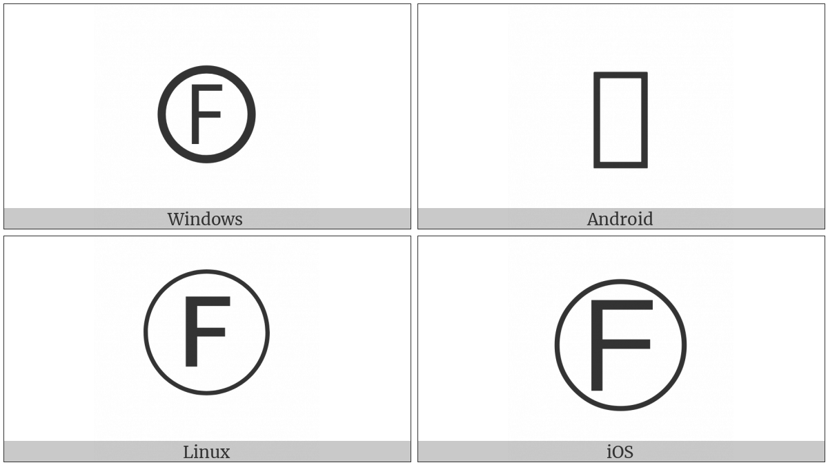 Circled Latin Capital Letter F on various operating systems
