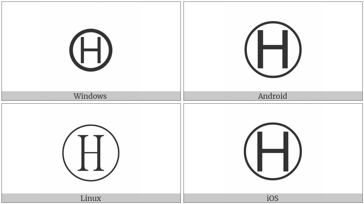 Circled Latin Capital Letter H on various operating systems