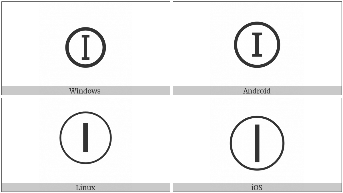 Circled Latin Capital Letter I on various operating systems