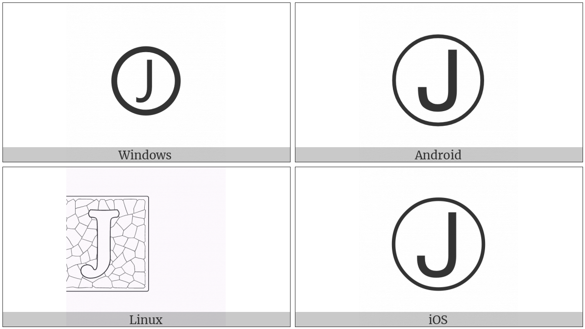 Circled Latin Capital Letter J on various operating systems