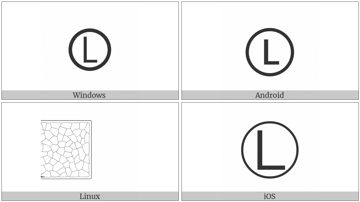 Circled Latin Capital Letter L on various operating systems