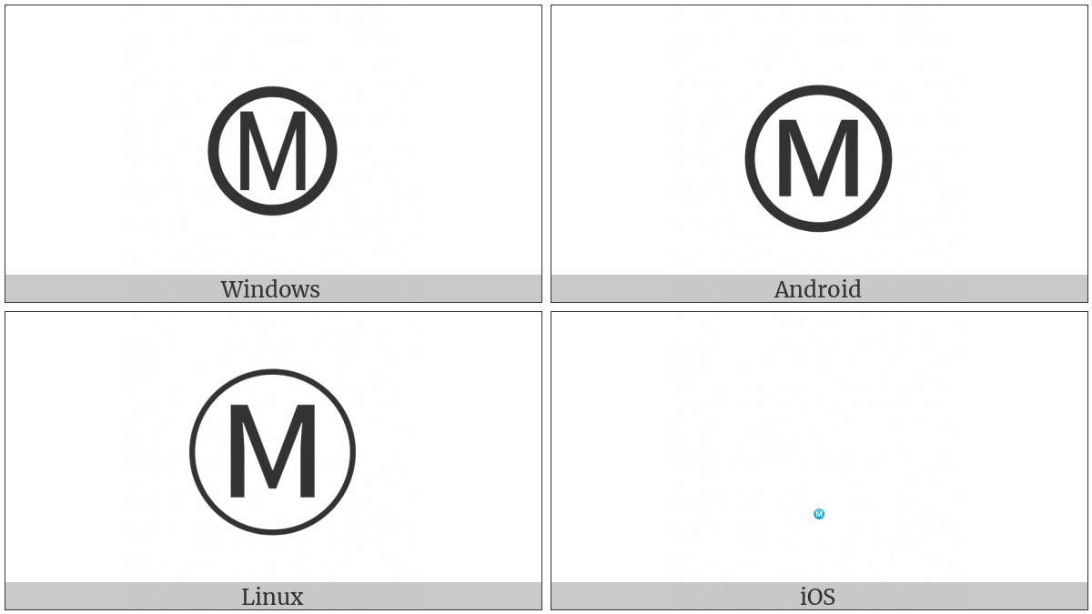 Circled Latin Capital Letter M on various operating systems