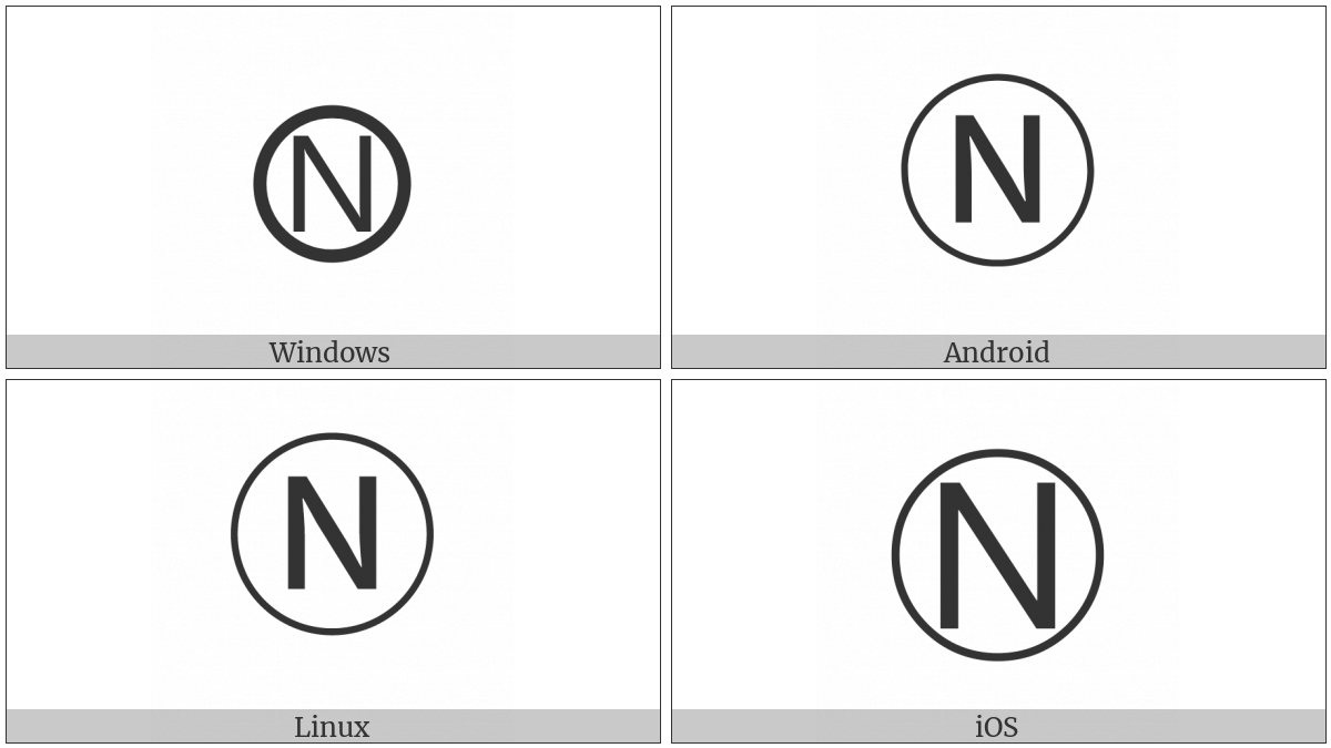 Circled Latin Capital Letter N on various operating systems