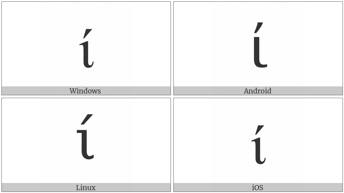 Greek Small Letter Iota With Tonos on various operating systems