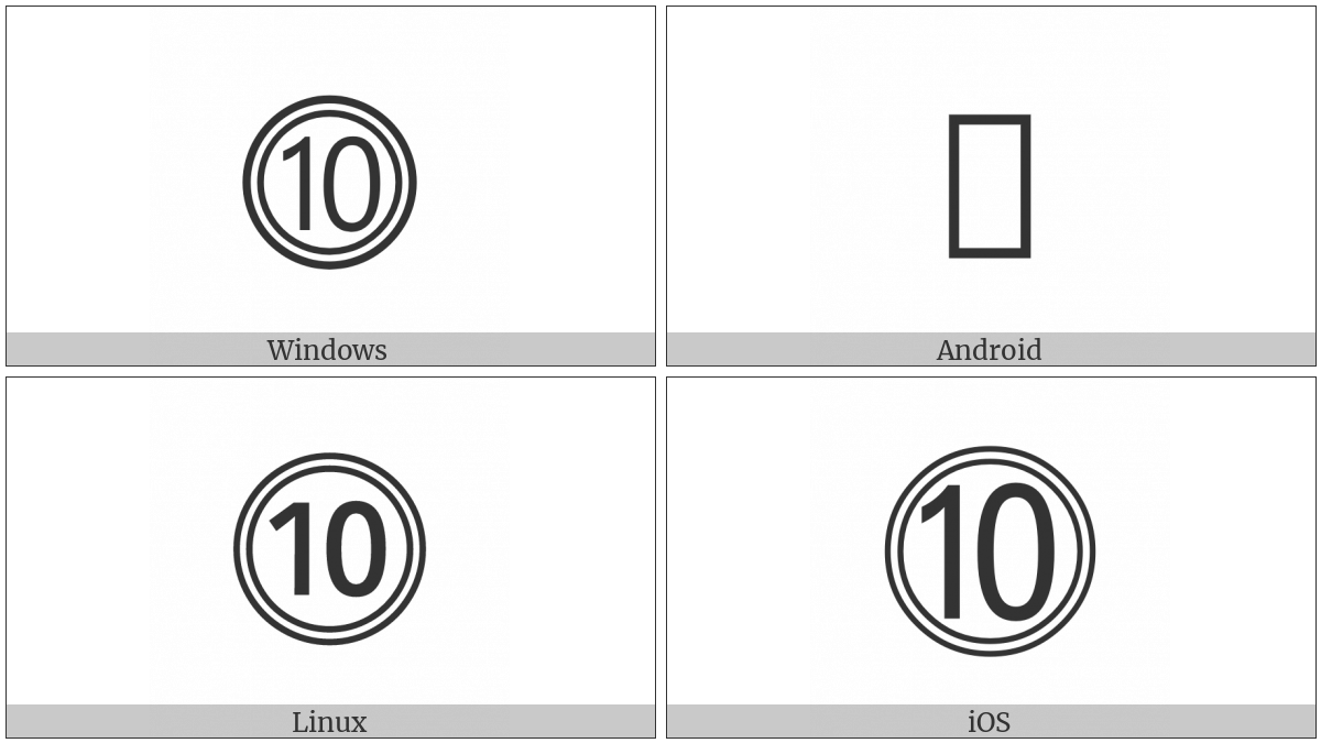Double Circled Number Ten on various operating systems