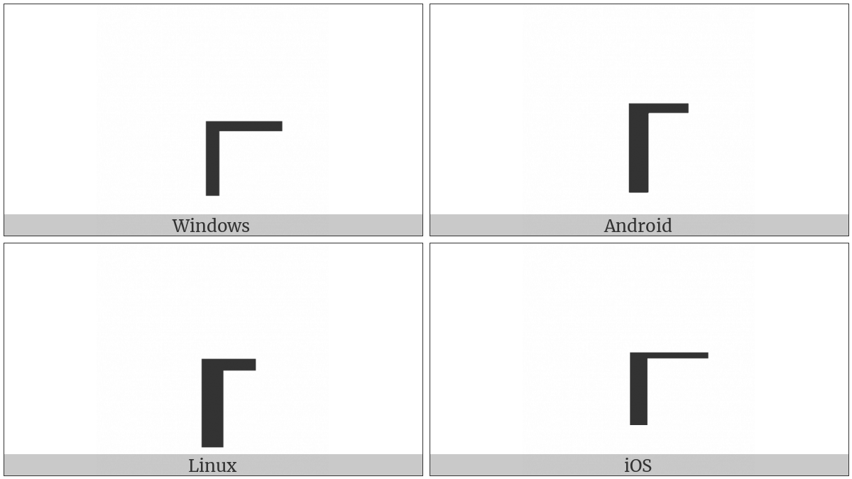 Box Drawings Down Heavy And Right Light on various operating systems