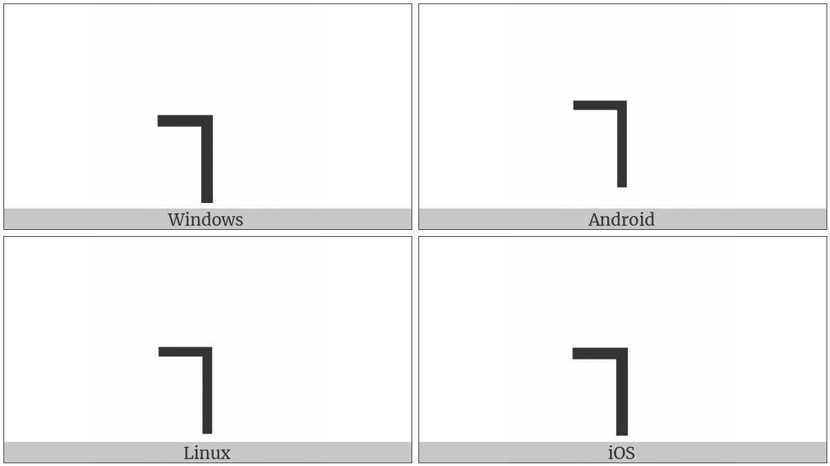 Box Drawings Light Down And Left on various operating systems