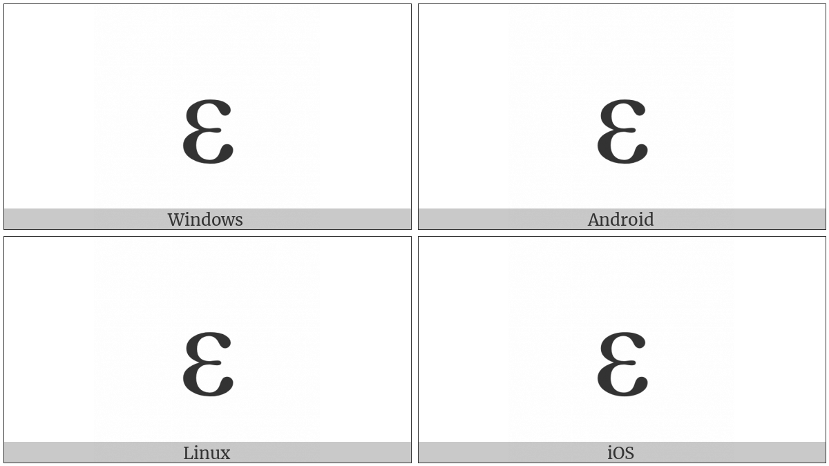Greek Small Letter Epsilon on various operating systems