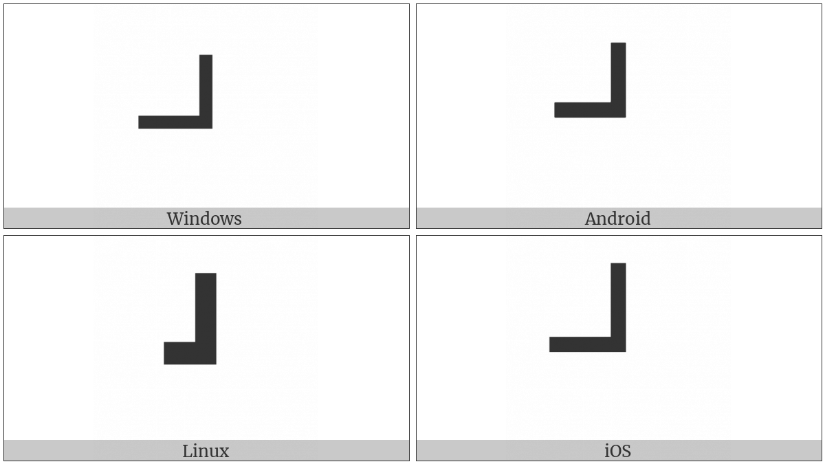Box Drawings Heavy Up And Left on various operating systems