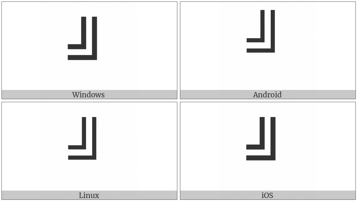 Box Drawings Double Up And Left on various operating systems