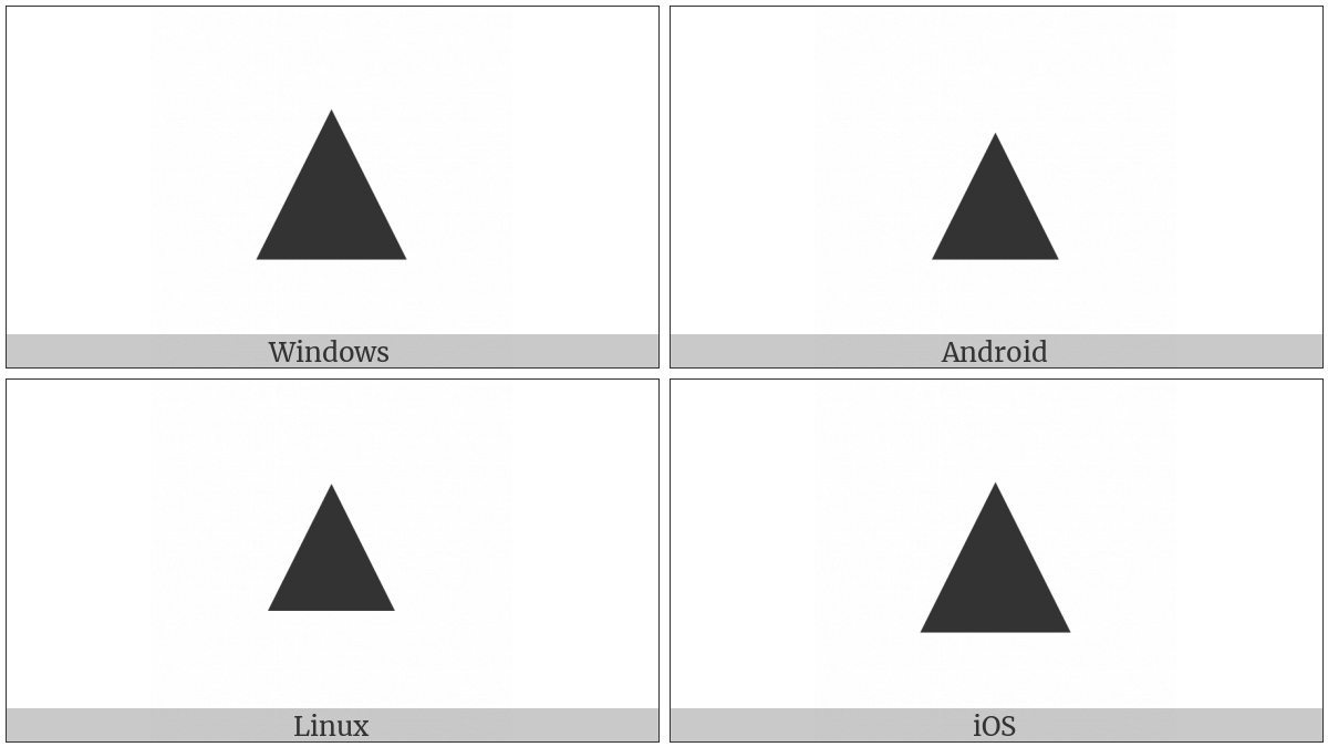 Black Up-Pointing Triangle on various operating systems
