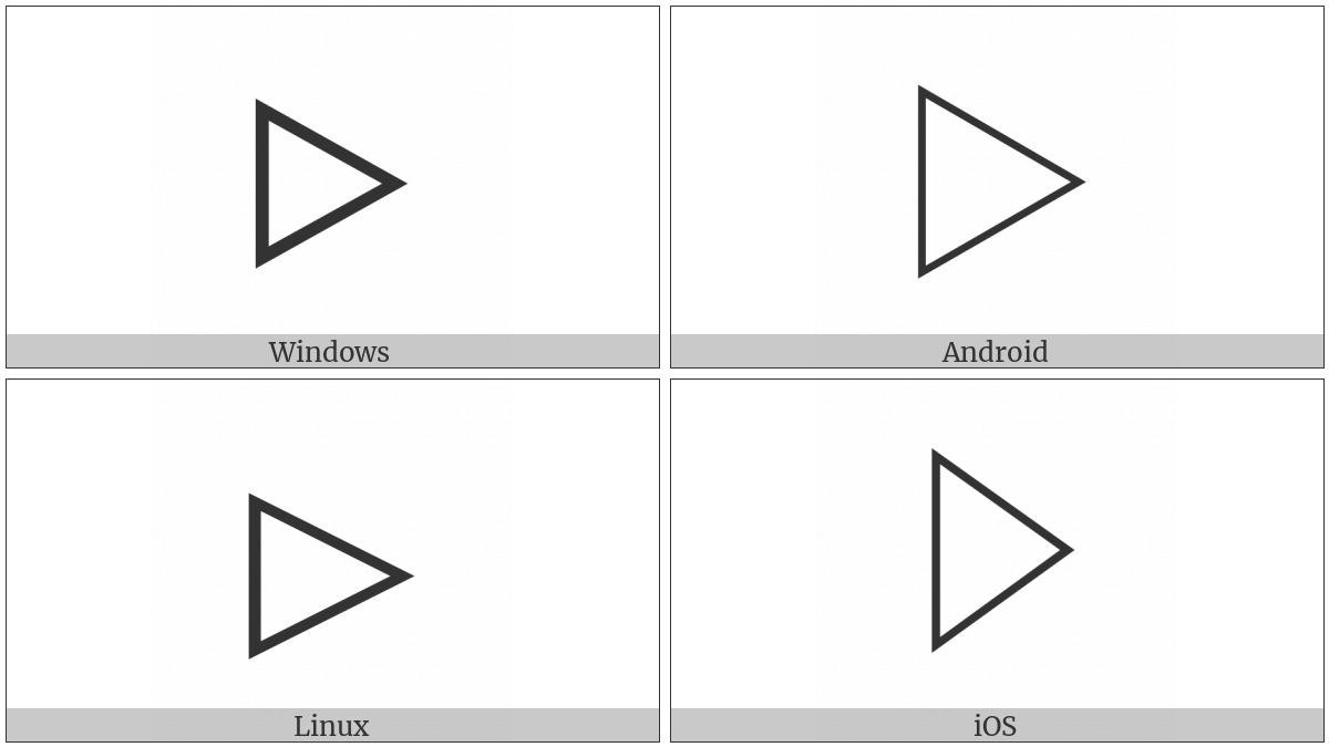 White Right-Pointing Triangle on various operating systems