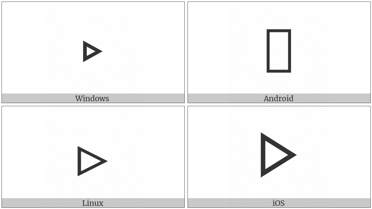 White Right-Pointing Small Triangle on various operating systems