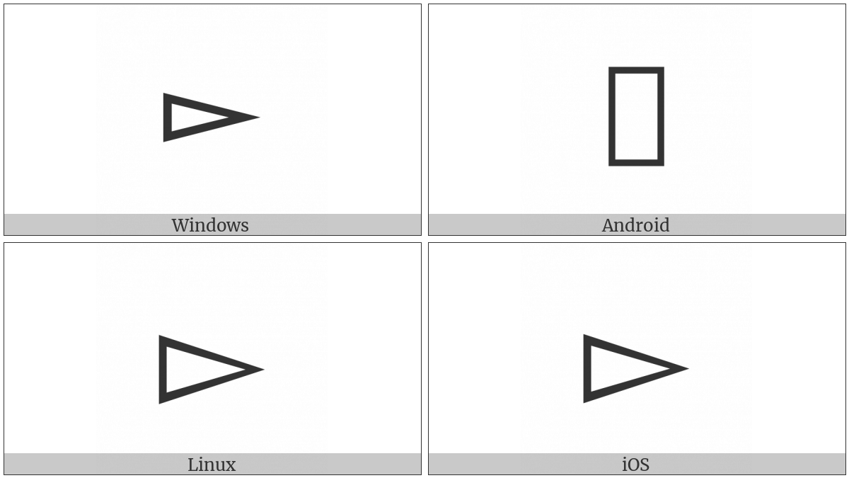 White Right-Pointing Pointer on various operating systems
